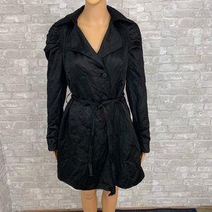 INC Ruched Fashion Black Trench Coat Size Medium
